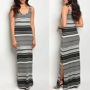 Black Gray Ivory Stripe Dress {My Beloved}